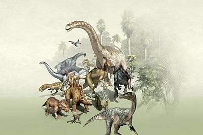 Group Of Dinosaurs Print by Mikkel Juul Jensen
