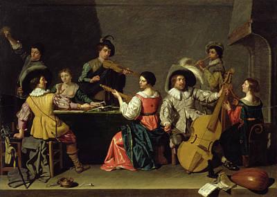 Pouring Wine Painting - Group Of Musicians by Jan van Bijlert or Bylert