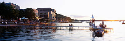 Group Of People At A Waterfront, Lake Print by Panoramic Images