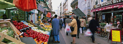 Group Of People In A Street Market, Rue Print by Panoramic Images