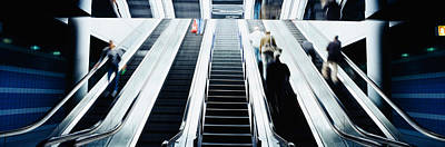 Group Of People On Escalators At An Print by Panoramic Images