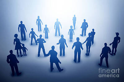 Worker Photograph - Group Of Various People Silhouettes Looking Towards Light by Michal Bednarek