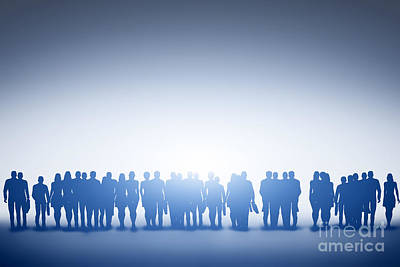 Communication Photograph - Group Of Various People Silhouettes Standing And Looking Towards Light by Michal Bednarek