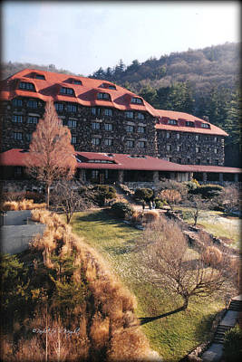 Grove Park Inn In Early Winter Print by Paulette B Wright