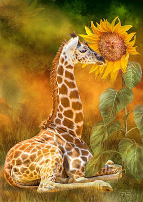 Giraffe Mixed Media - Growing Tall - Giraffe by Carol Cavalaris