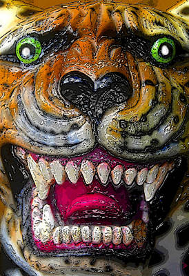 Growling Tiger Face Print by David Lee Thompson