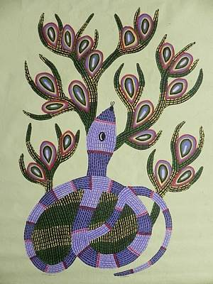 Gond Tribal Art Painting - Grsu 02 by Ram Singh Urveti