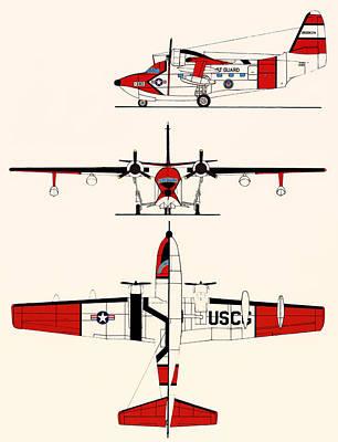 Albatross Drawing - Grumman Hu-16e Albatross by Mountain Dreams