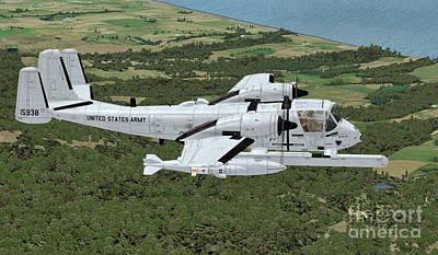 Warbird Mixed Media - Grumman Ov-1 Mohawk by Walter Colvin