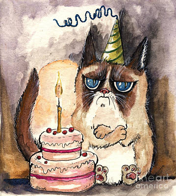 Grumpy Birthday Cat Print by Angel  Tarantella