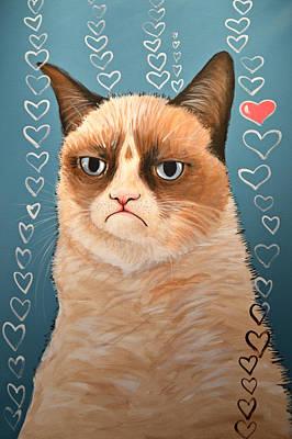 Grumpy Cat Art ... Love You Print by Amy Giacomelli