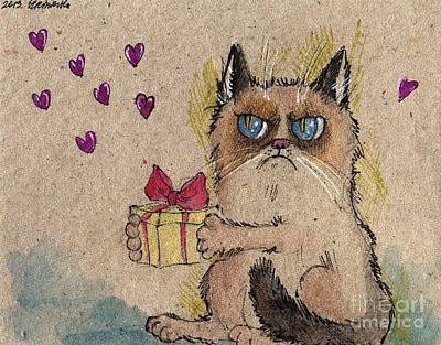 Grumpy Cat In Love Print by Angel  Tarantella