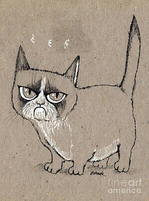 Grumpy Cat Is Grumpy Today Print by Angel  Tarantella