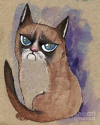 Grumpy Cat Is Watching You Print by Angel  Tarantella