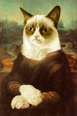 Louvre Mixed Media - Grumpy Cat Mona Lisa by Tony Rubino