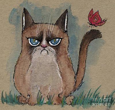 Grumpy Cat With Butterfly Print by Angel  Tarantella