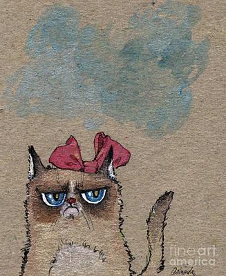 Grumpy Cat With Red Ribbon Print by Angel  Tarantella
