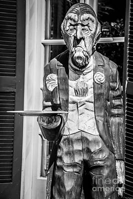 Carving Photograph - Grumpy Old Waiter Carving Key West - Black And White by Ian Monk