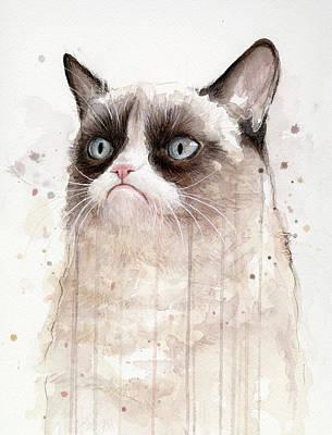 Grumpy Watercolor Cat Print by Olga Shvartsur