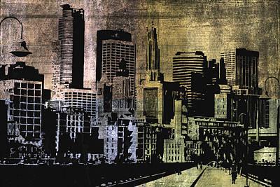 Grunge Digital Art - Grunge City by Gina Dsgn