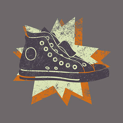 Conversing Digital Art - Grunge High Top Sneakers by Flo Karp