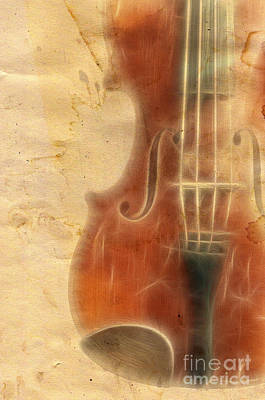 Violin Digital Art - Grunge Music Backgrouns by Michal Boubin