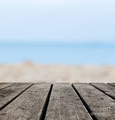 Wooden Platform Photograph - Grunge Rustic Real Wood Boards On The Beach Shore by Michal Bednarek
