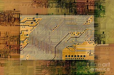 Grunge Technology Background Print by Michal Boubin
