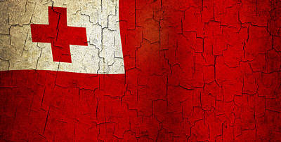Tonga Digital Art - Grunge Tonga Flag by Steve Ball