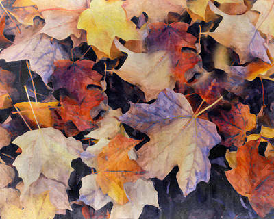 Nature Lover Mixed Media - Grungy Autumn Leaves by Georgiana Romanovna