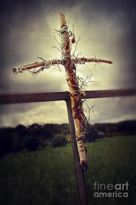 Grungy Cross Print by Carlos Caetano