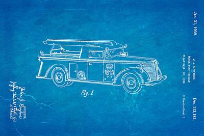 Grybos Fire Truck Patent Art 1939 Blueprint Print by Ian Monk