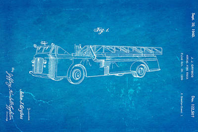Grybos Fire Truck Patent Art 1940 Blueprint Print by Ian Monk