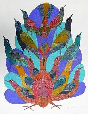 Gond Tribal Art Painting - Gst 21 by Gareeba Singh Tekam
