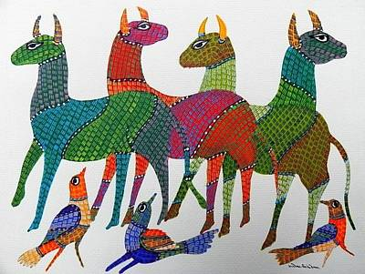 Gond Tribal Art Painting - Gst 38 by Gareeba Singh Tekam