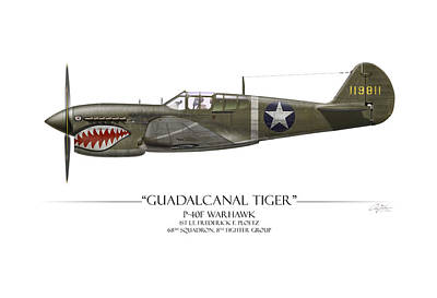 Tonga Digital Art - Guadalcanal Tiger P-40 Warhawk - White Background by Craig Tinder