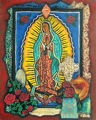 Virgen De Guadalupe Mixed Media - Guadalupe Collage In Red by Candy Mayer