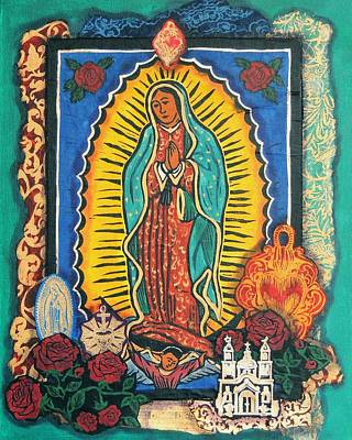 Virgen De Guadalupe Mixed Media - Guadalupe Collage In Turquoise by Candy Mayer