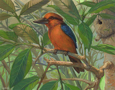 Kingfisher Painting - Guam Micronesian Kingfisher by ACE Coinage painting by Michael Rothman