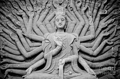 Guanyin Bodhisattva In Black And White Print by Dean Harte