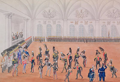 Pompous Photograph - Guard Parade, 1820s Wc On Paper by Russian School