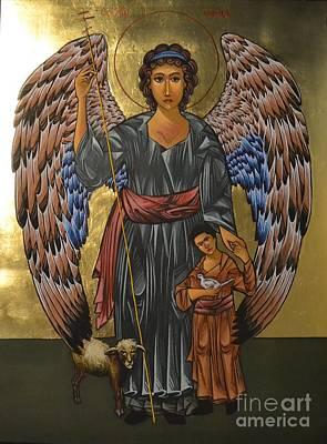 Greek Icon Painting - Guardian Angel by Kateryna Kurylo