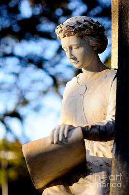 Guardian Angel - Marble Sculpture Of A Female Figure Print by David Hill