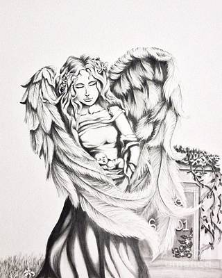 Baby Angel Drawing - Guardian Angel  by Shayla Tansey