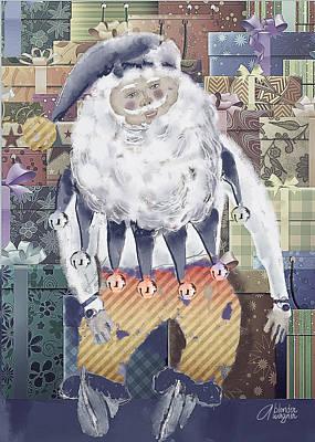 Santa Digital Art - Guarding The Gifts by Arline Wagner