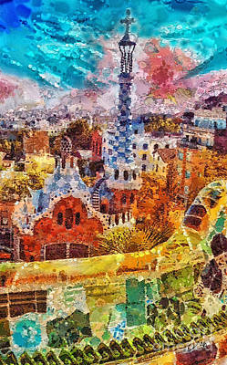 Barcelona Painting - Guell Park by Mo T