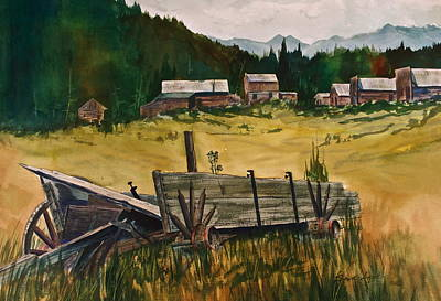 Old Wooden Wagon Painting - Guess We'll Settle Here I by Frank SantAgata