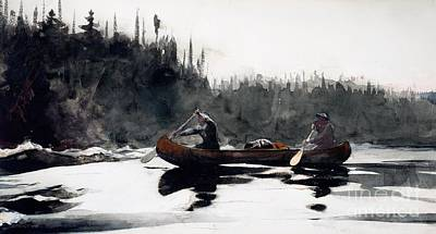 White Water Rafting Painting - Guides Shooting Rapids by Winslow Homer