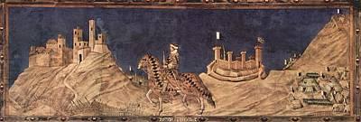 Knights Castle Painting - Guidoriccio Da Fogliano At The Siege Of Montemassi by Simone Martini