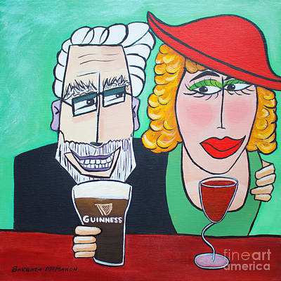 Women With Wine Painting - Guinness Man With The Woman Of His Dreams by Barbara McMahon